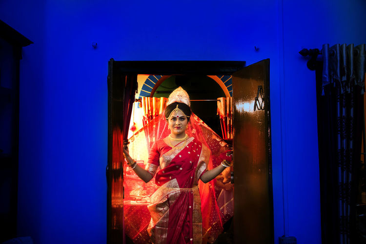 The Bride India The Fashion Photographer - 2018 EyeEm Awards Wedding Architecture Before Marriage Bride Celebration colour of life Dressing Up Front View Indoors  Looking At Camera Night One Person Portrait Sharee Standing Waist Up Women