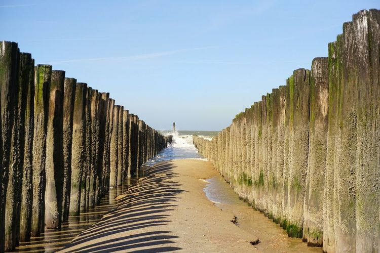 Panoramic view of wooden posts on beach against clear sky