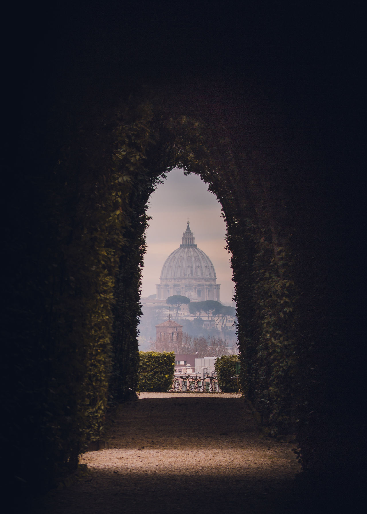 Cathedral seen through archway