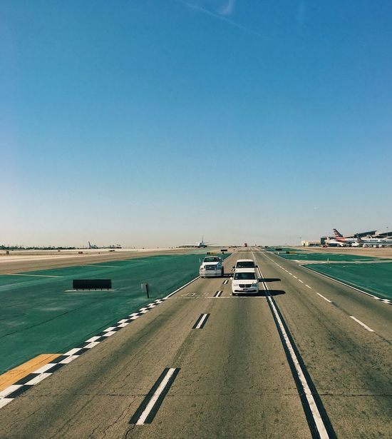 Transportation Car Road Clear Sky Mode Of Transport Copy Space Land Vehicle Sea Day Blue Outdoors Beach No People Water Nature Scenics Sky EyeAmNewHere LAX Runway Tarmac California