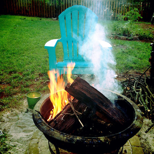 Backyard Backyard Firepit Burning Fire Firepit Motion Orange Outdoors Smoke Sunny