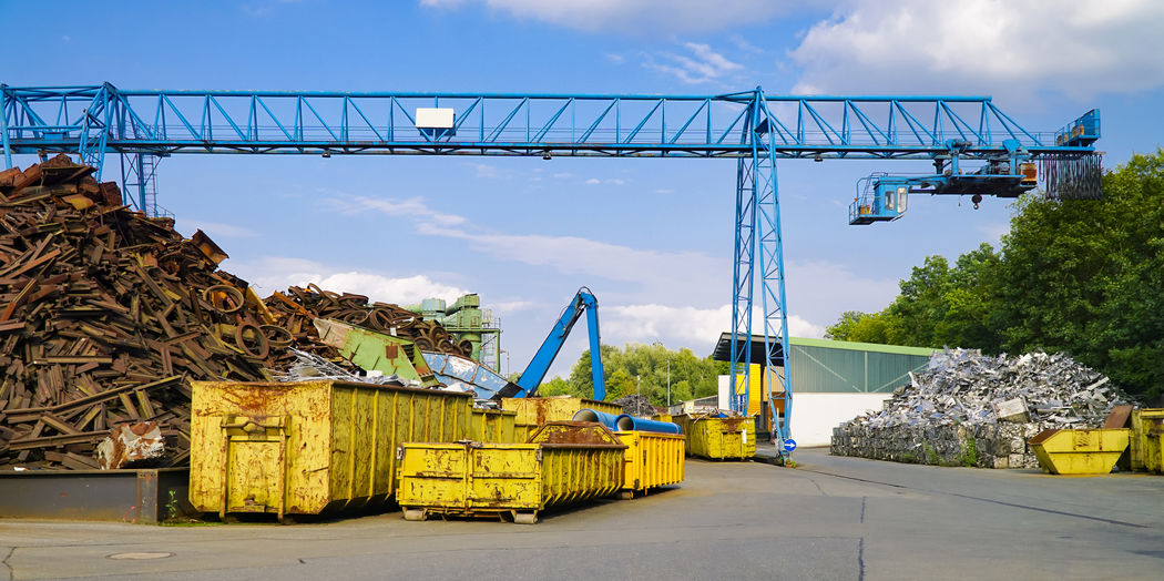 Cloud - Sky Day Industry Machinery Metal No People Outdoors Scrap Scrap Yard Sky Transportation Tree Yard