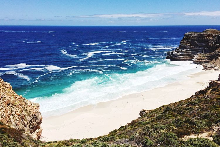 Cape Town Cape Town South Africa Sea Beach Water Land Horizon Over Water Beauty In Nature Sky Horizon Scenics - Nature Wave Motion Aquatic Sport Surfing Sport Nature Tranquil Scene Day Tranquility Rock Outdoors