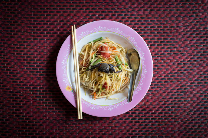 Background Circle Culture Cultures EyeEm Food Food And Drink Freshness Healthy Eating Isolated Lifestyle No People Noodles Plate Ready-to-eat Somtum Pu-plarha Somtum Thai Spoon Thailand Top View