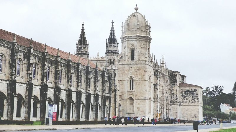 The Old Monuments Old Monastery Mosteiro Dos Jerónimos City Explorer Lisbonlovers Old Buildings Monuments Building Exterior Architectural Detail Old Memories Lisboa Portugal Man Made Structure Rainy Day City Landscape Landmarkbuildings Landmarks