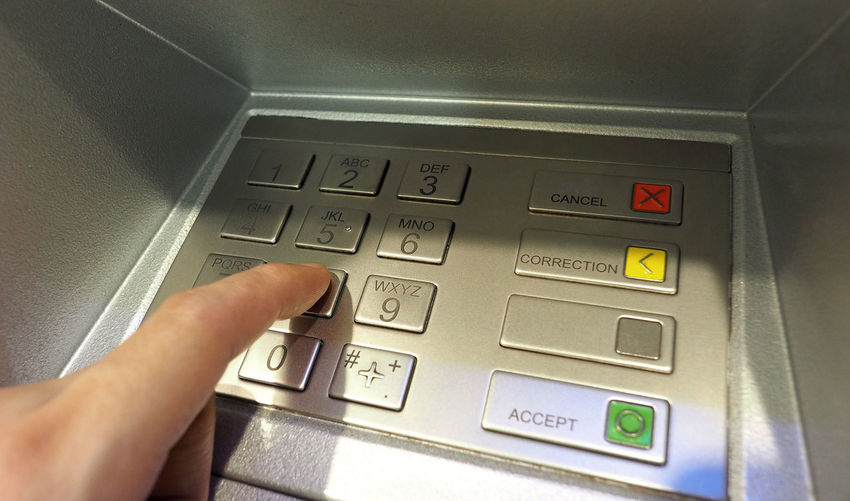 Automatic teller machine or ATM pin button close-up and human hand index finger pushing keypad for withdrawal the money by private personal password banking. Atm Atm; Machine; Pin; Hand; Bank; Cash; Banking; Finance; Card; Withdraw; Technology; Account; Money; Code; Credit; Withdrawal; Keypad; Debit; Business; Number; Electronic; Customer; Automatic; Password; Human; Finger; Touching; Button; Botton; Teller; Enter Close-up Currency Day Finger Hand Human Body Part Human Hand Indoors  One Person People Technology Touch