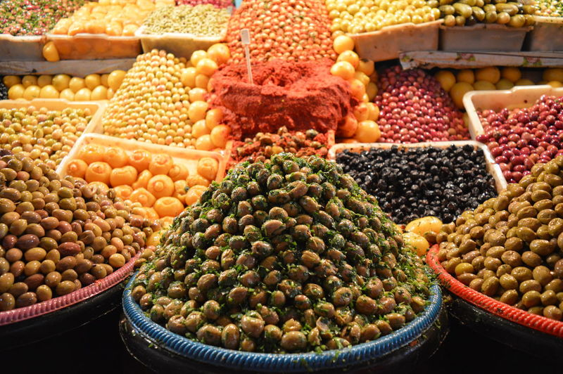 High Angle View Of Various Fruits For Sale At Market