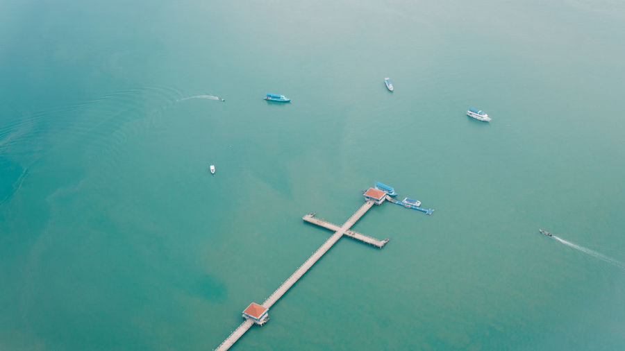 Nautical Vessel Water Aerial View High Angle View Boat Turquoise Colored Horizon Over Water Longtail Boat Seascape Ocean Sea Shore Buoy Mast Calm