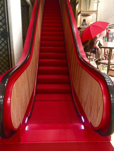 Red Beauty 173169 Red Escalator Red Escalator Venezia Shopping Mall Shopping ♡ Palazzo Fondaco Dei Tedeschi Travel Destinations Travel Travel Photography Transportation