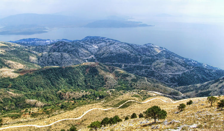 Clean Air Day Geology Greece Hill Landscape Mountain Mountain Range Pantokrator Physical Geography Scenics Sea Serpentine Tranquil Scene Valley Wide Angle