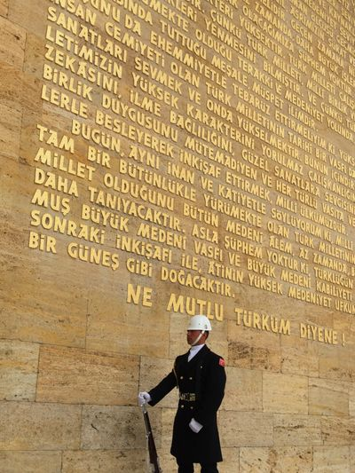 Anitkabir Ankara Mustafa Kemal Atatürk Turkish Turkey Türkiye Mausoleum Atatürk Soldier Text Standing One Man Only Men One Person Adult Adults Only
