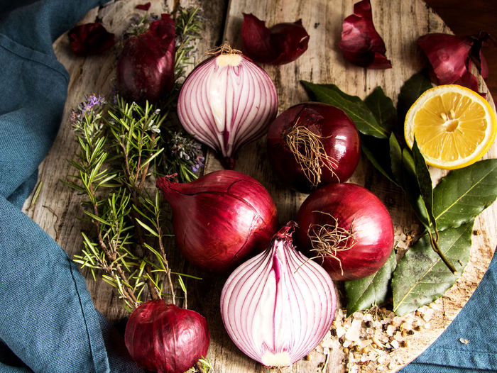High angle view of onions