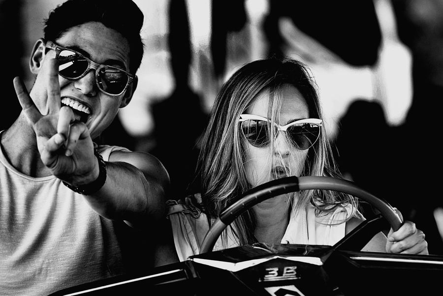 driver Fun Park Black & White Black And White Fun Bump Cars Love Life Ekspression Adventure Time Young Young Couple Young Women Nightlife Togetherness Friendship Portrait MOVIE Cheerful Arts Culture And Entertainment Headshot