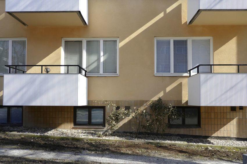 White balconies on Sandhamnsgatan Blinds Sandhamnsgatan Gärdet Balconies Windows Balcony Window
