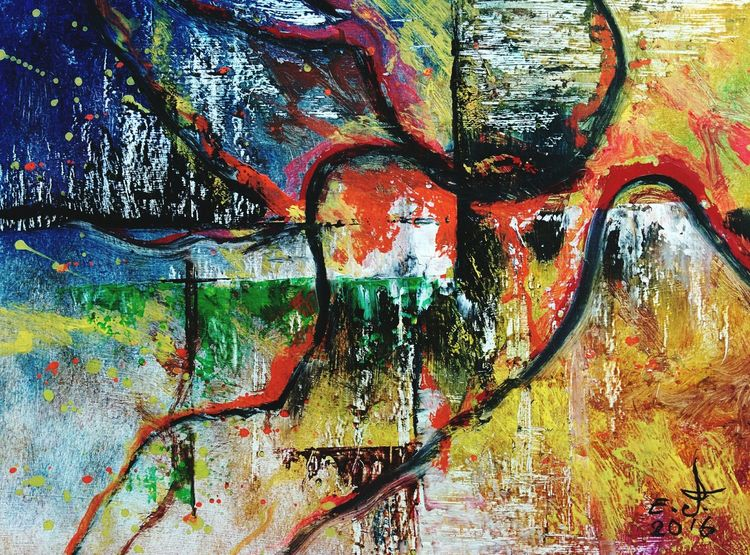 """Recently I picked up a completely different style some people they call this Modern art and some people they call this Contemporary art ,you my friends call what you like but to me it's nothing but pure art,oil on canvas 18""""_24"""" , Contemporaryart Creativity Creative Arts  Modern Art Multi Colored My New Style :) Drawing Art, Drawing, Creativity Oil Painting Fine Art New Style My Art Colllection Friendship. ♡   Love ♥ Koi."""