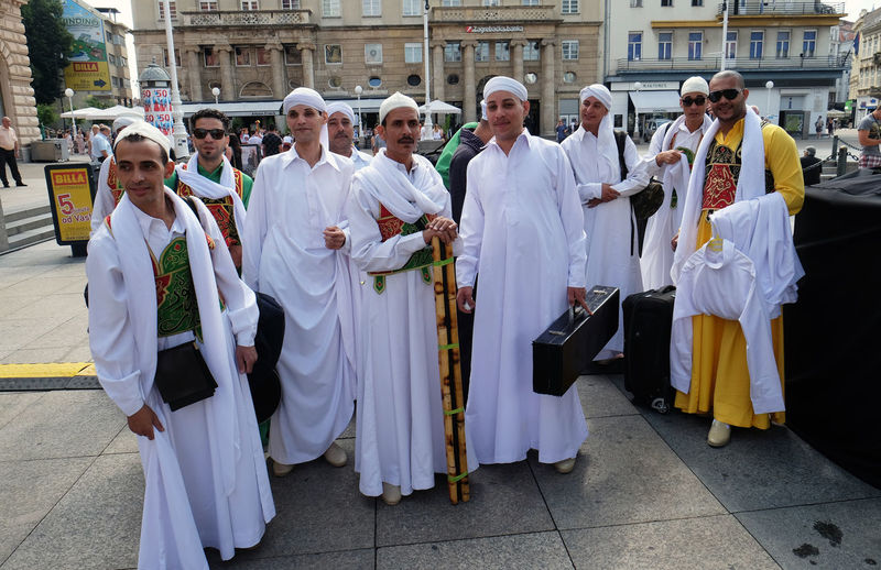 Members of Al Tannoura Folklore Troupe, Cairo, Egypt during the 50th International Folklore Festival in center of Zagreb, Croatia on July 20, 2016 Authentic Cairo Celebration Costume Croatia Culture Dance Egypt Entertainment Event Festival Folk Folklore Historical Men Music Participants Perform Show Style Traditional Zagreb