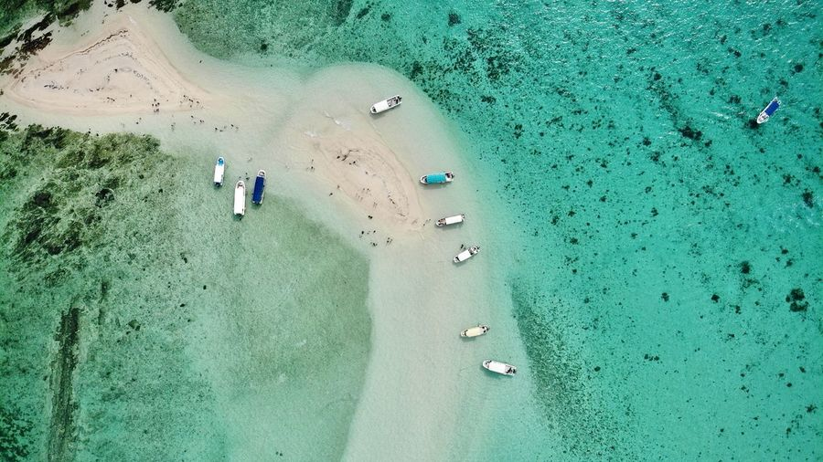Aerial view of boats at beach