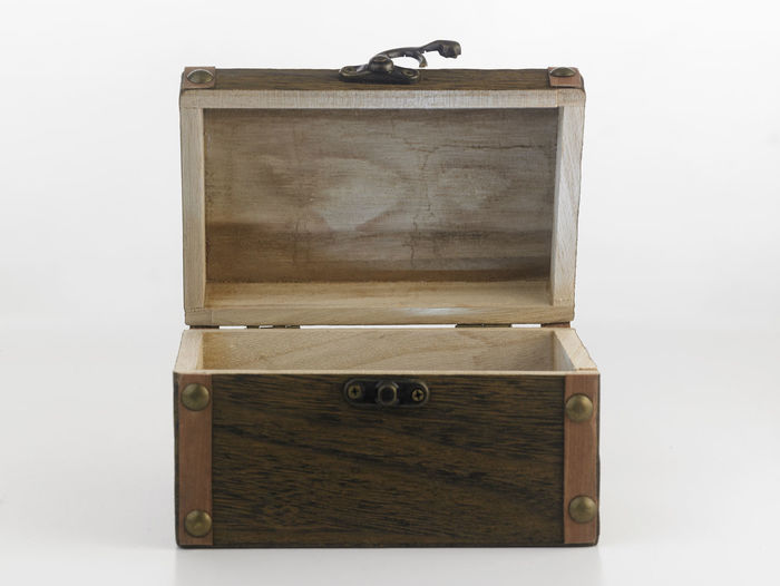 treasure chest box on the white background Antique Box Container Pirate Retro Treasure Box Antique Brown Chest Box Decoration Indoors  Luggage No People Object Open Retro Styled Security Single Object Storage Studio Shot Suitcase Travel Trunk White Background Wood - Material