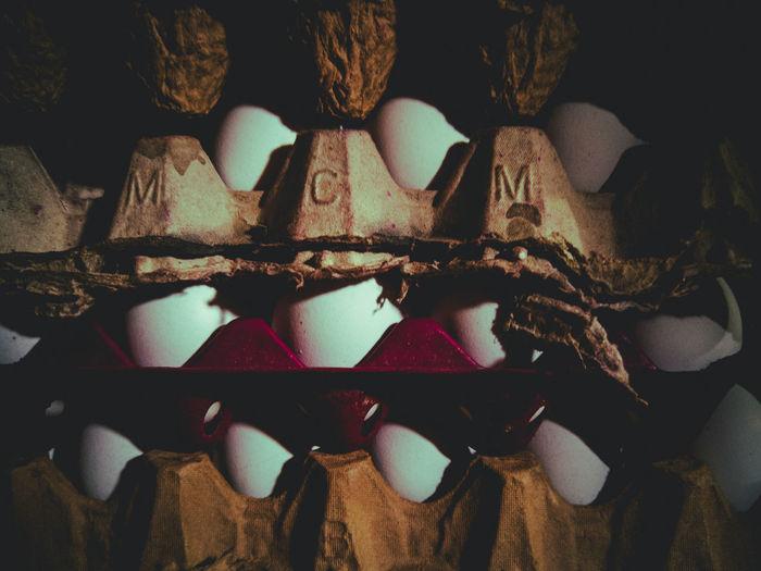 Full frame shot of egg cartons