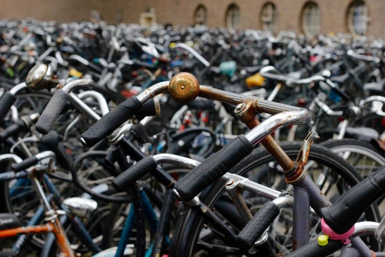 Bicycle Bicycle Rack Close-up Cycling Day Focus On Foreground Large Group Of Objects Mode Of Transport No People Outdoors Transportation