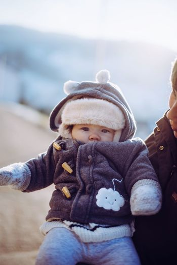 Hello there 👋🏻 Togetherness Portrait Lovely Cute Bright Sun Winter Cold Temperature Sunshine Daughter Babyhood Baby Clothing One Baby Girl Only 0-11 Months Baby Girls Baby Winter Coat Hood - Clothing My Best Photo