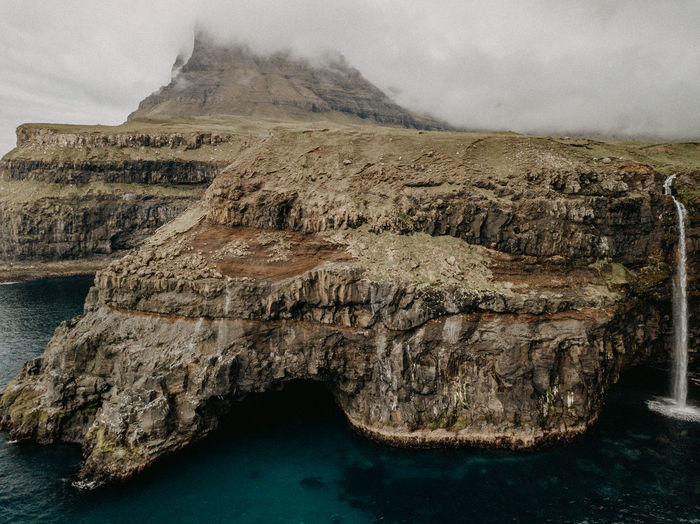 Aerial view of rock formations by sea against sky