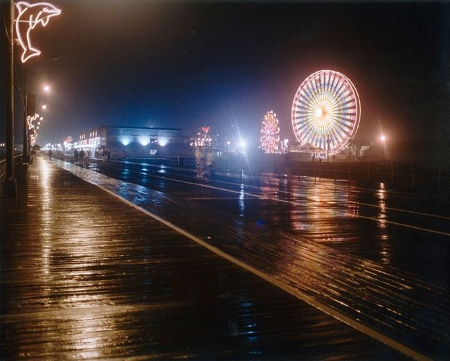 A rainy night on the boardwalk! Night Time Boardwalk Jerseyshore Summer Ocean City Nj  Ocean Moody Rain Jersey Shore Ferris Wheel