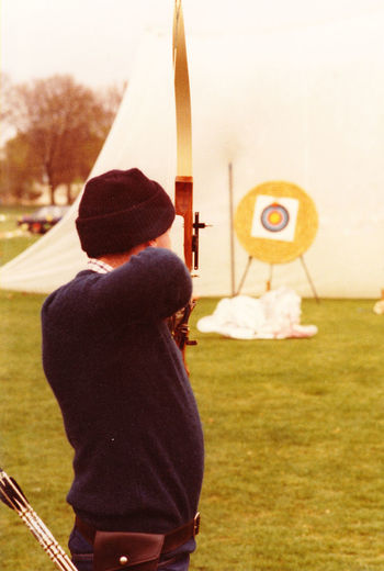 Hackney Fair 1982 Rear View One Person Outdoors Butts Arrows Archery Range Archery Bows Standing Archery Target film photography
