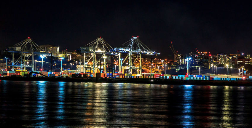 Container Port at night Container Container Port Architecture Business Commercial Dock Freight Transportation Harbor Illuminated Light Mode Of Transportation Nature Nautical Vessel Night No People Outdoors Pier Reflection Sea Ship Shipping  Transportation Water Waterfront