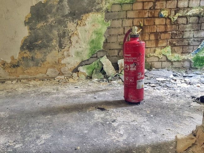 Lonely Fire Extinguisher in an Abandoned Building - Abandoned Places Abandoned Buildings Abandoned & Derelict Firefighter Fire Hydrant Forgotten Places  Abandoned Object Object Lonely Objects Check This Out On The Ground Rotten Places Rotten Rottenplaces Empty Places Empty Green Wall Mould Construction Orphanage Decay