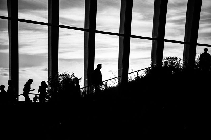 Silhouette people standing by sea against sky