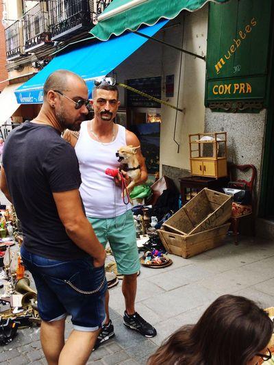Flea Market Day Dog Rastro Madrid Streetphotography Males  Two People City