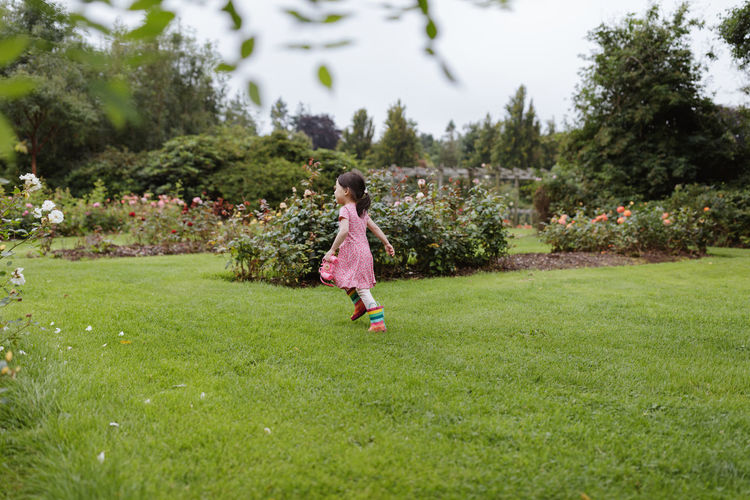 Young girl playing in the summer forest park