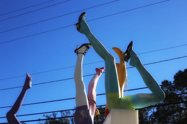 Getting A Leg Up Weird Colors Popular Photos Low Angle View Lifestyles Clear Sky Day Leisure Activity Outdoors Men One Person Sky