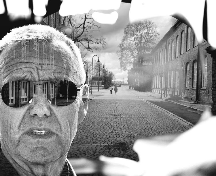 Double exposure Looking At Camera Bare Tree Portrait Real People Sunglasses One Person Architecture Outdoors Day Road Close-up Double Exposure Doubleexposure Multivisio Tampere Suomi Finland Break The Mold TCPM The Portraitist - 2017 EyeEm Awards The Street Photographer - 2018 EyeEm Awards