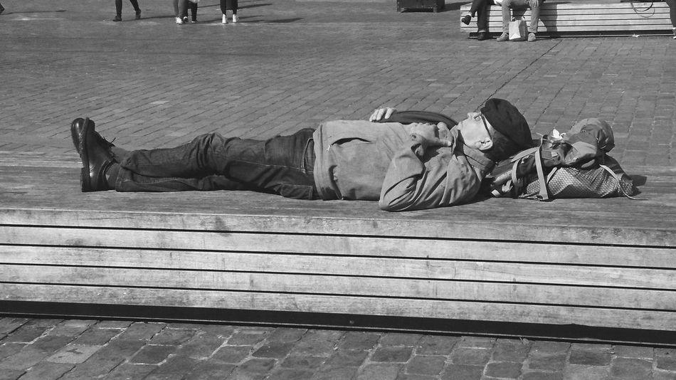 Lying Down Sleeping Enjoying The Sun street photography Black & White