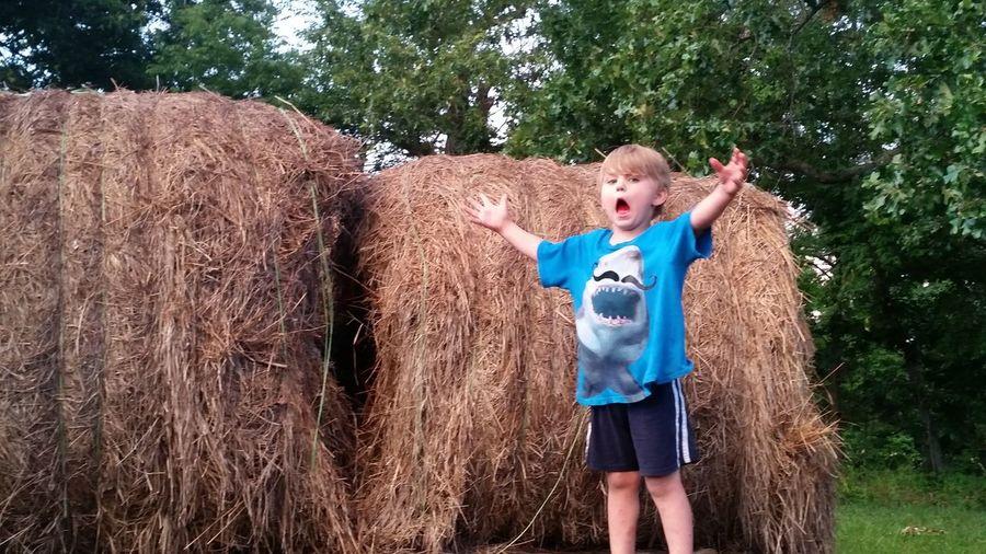Portrait Of Boy Standing By Hay Bale On Field