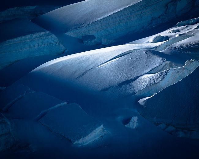 Aerial view of frozen landscape