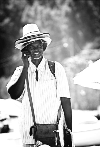 Portrait Black And White Man At Work Take A Smile