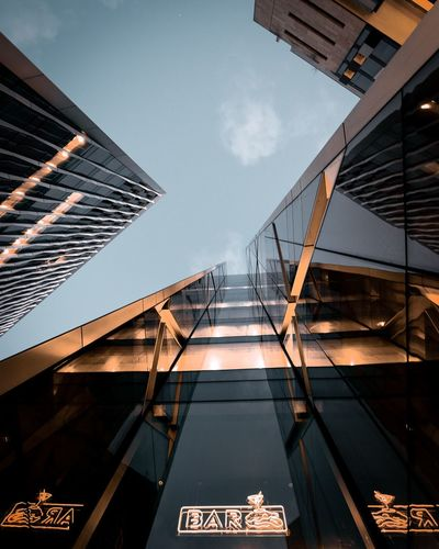 Architecture Built Structure Building Exterior Low Angle View Sky Building No People Bridge - Man Made Structure Office Building Exterior Modern Nature Day City Tall - High Railing Bridge Outdoors Tower Metal Connection