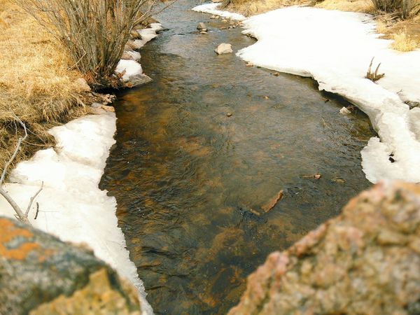 Snowy River Icy Water Water_collection Water Reflections On The Other Side Colorado Riverbank River Riverside Water Reflections In The Water High Angle View Nature Reflection Rustic Colors Of Autumn Landscape_Collection Focus On Background EyeEm Nature Lover