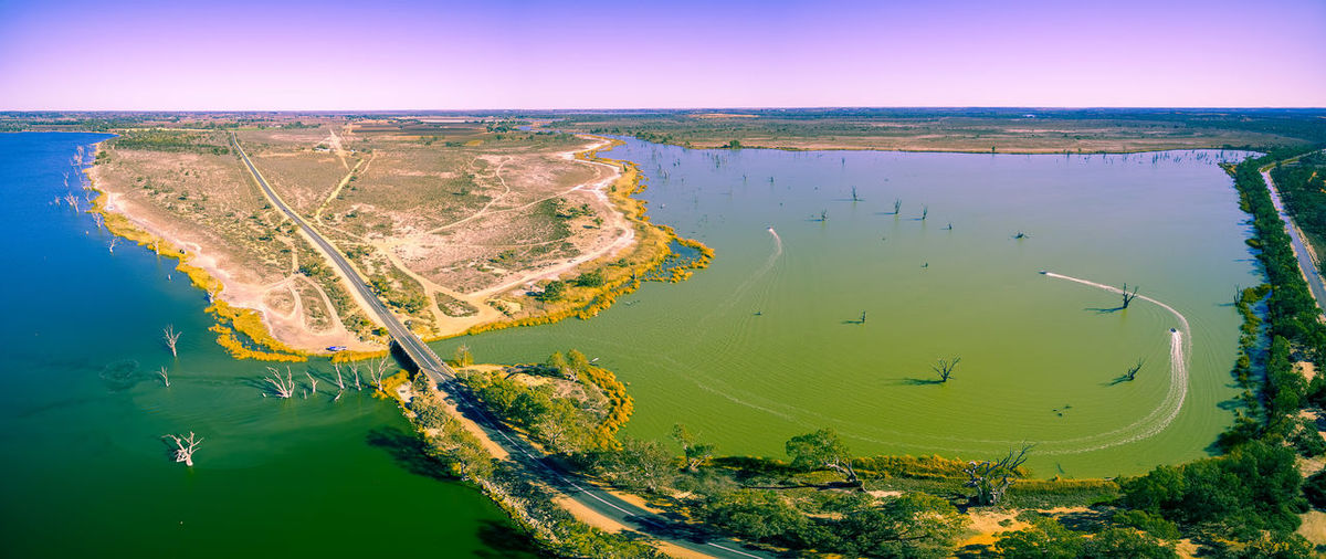 Aerial Shot Australia Australian Landscape Drone  Panorama Panoramic Road South Australia Aerial Aerial View Coastline Day Drone Photography Environment High Angle View Lake Lake Bonney Lake Bonnie Landscape Loch Luna Outdoors Water