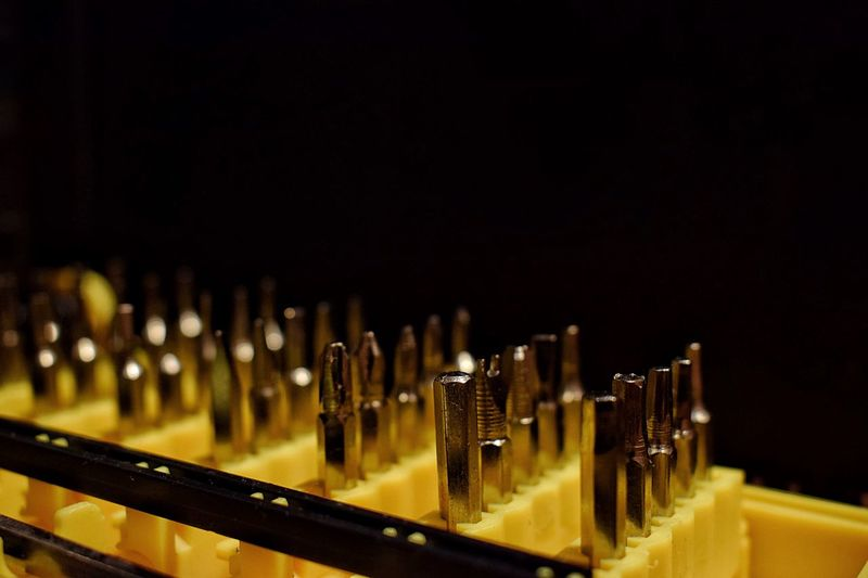 Close-up of illuminated screwdriver kit