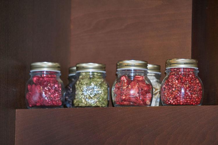 Food in jars on table