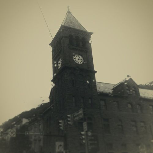 Court House Clock Tower Clocktower Gothicrevival Victorian Sepia monochrome contrast shiftfocus mauchchunk courthouse littlephoto vignette countyseat trb_members1 poconos bearmountain asapacker carboncounty pennsylvania