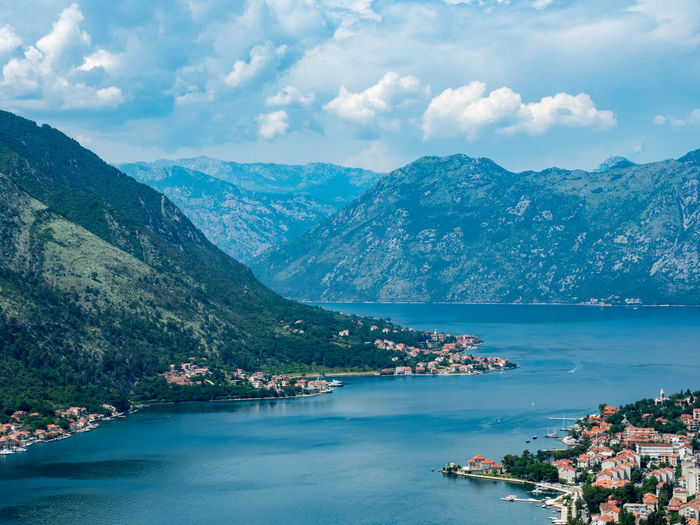A view of the bay of Kotor, Montenegro. Kotor Bay Architecture Bay Beauty In Nature Building Building Exterior Built Structure City Cloud - Sky Day Environment Kotor Montenegro Mountain Mountain Range Nature No People Outdoors Scenics - Nature Sea Sky TOWNSCAPE Tranquil Scene Tranquility Water