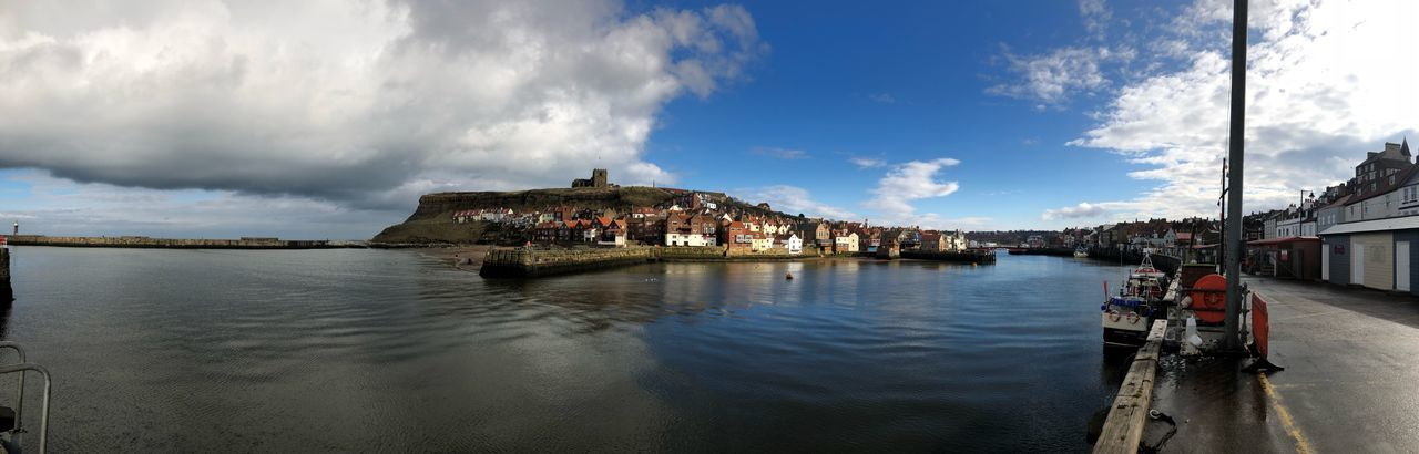 Whitby Harbour Panoramic Landscape Panoramic Photography Panorama Whitby Whitby Harbour Whitby Abbey Sky Water Architecture Built Structure Building Exterior Nature Reflection Outdoors Day
