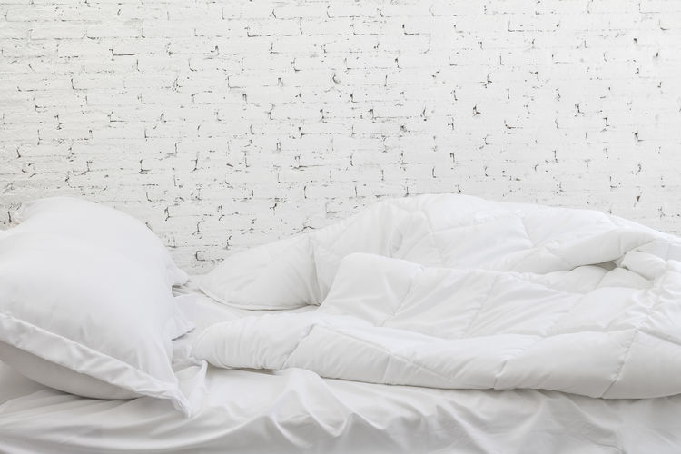 Bedding background Bed Crumpled Morning Pillow Absence Backdrop Background Bed Bedding Bedroom Comfortable Curtain Domestic Room Duvet Fabric Furniture Home Interior Indoors  Linen No People Pillow Sheet Sleep Textile White Color