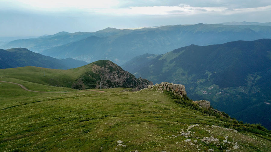 Mountain landscape with green grass / turkey / trabzon