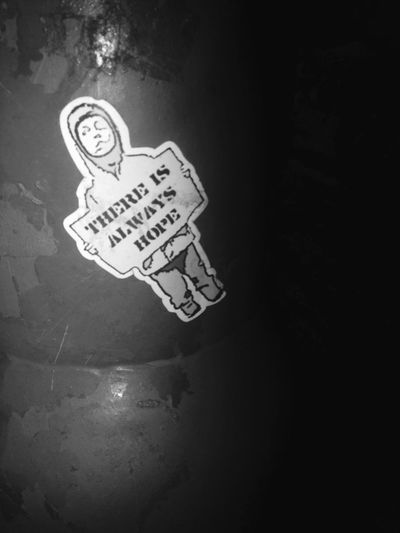 Hope Sticker Cute Person Words Outside Lamppost